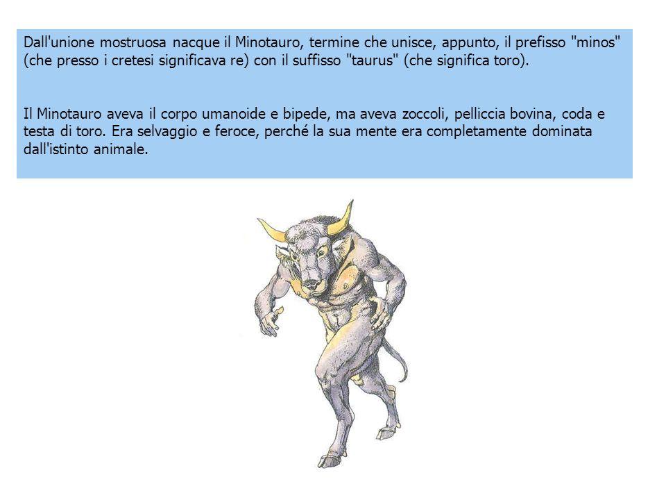 Dall'unione mostruosa nacque il Minotauro, termine che unisce, appunto, il prefisso