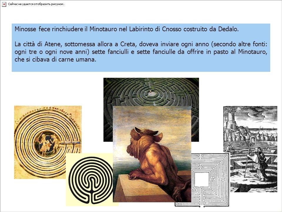 Minosse fece rinchiudere il Minotauro nel Labirinto di Cnosso costruito da Dedalo. La città di Atene, sottomessa allora a Creta, doveva inviare ogni a
