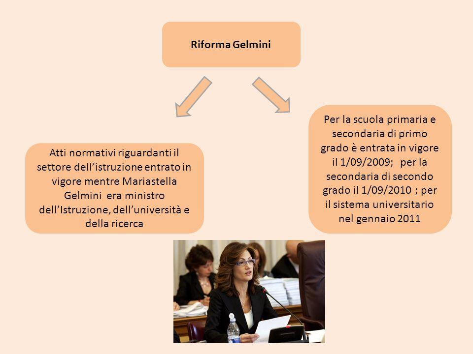 Riforma Gelmini Atti normativi riguardanti il settore dellistruzione entrato in vigore mentre Mariastella Gelmini era ministro dellIstruzione, delluni