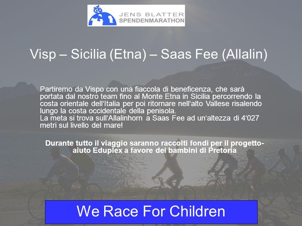We Race For Children Progetto 2004 - Swaziland Grazie al progetto del 2004, 240 bambini in età scolastica dello Swaziland, hanno potuto frequentare la scuola per ben 2 anni ricevendo libri scolastici, quaderni, pasti, bibite e indumenti.