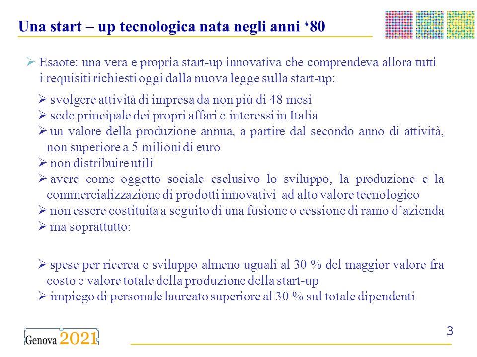 __________________________________________ ______________________________________ 3 Una start – up tecnologica nata negli anni 80 Esaote: una vera e propria start-up innovativa che comprendeva allora tutti i requisiti richiesti oggi dalla nuova legge sulla start-up: svolgere attività di impresa da non più di 48 mesi sede principale dei propri affari e interessi in Italia un valore della produzione annua, a partire dal secondo anno di attività, non superiore a 5 milioni di euro non distribuire utili avere come oggetto sociale esclusivo lo sviluppo, la produzione e la commercializzazione di prodotti innovativi ad alto valore tecnologico non essere costituita a seguito di una fusione o cessione di ramo dazienda ma soprattutto: spese per ricerca e sviluppo almeno uguali al 30 % del maggior valore fra costo e valore totale della produzione della start-up impiego di personale laureato superiore al 30 % sul totale dipendenti