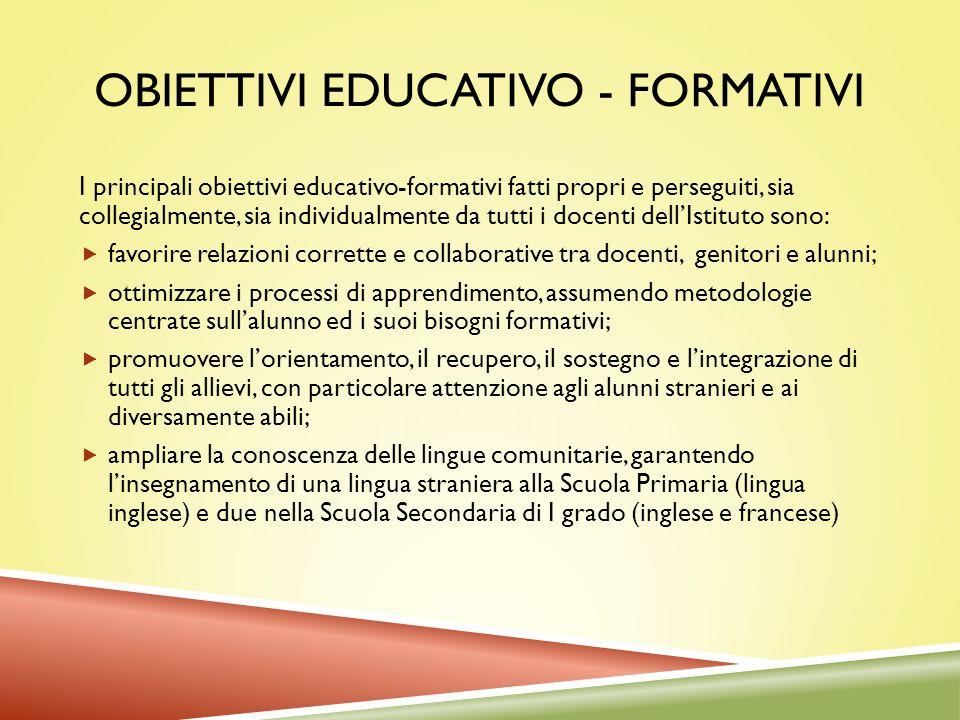 OBIETTIVI EDUCATIVO - FORMATIVI I principali obiettivi educativo-formativi fatti propri e perseguiti, sia collegialmente, sia individualmente da tutti