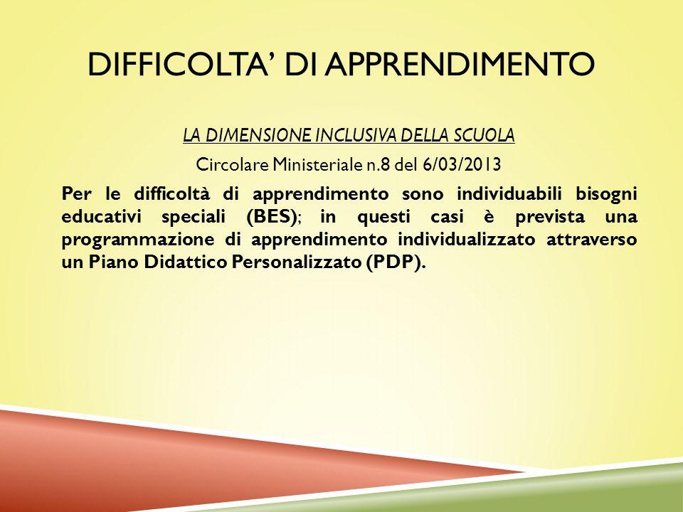 DIFFICOLTA DI APPRENDIMENTO LA DIMENSIONE INCLUSIVA DELLA SCUOLA Circolare Ministeriale n.8 del 6/03/2013 Per le difficoltà di apprendimento sono indi