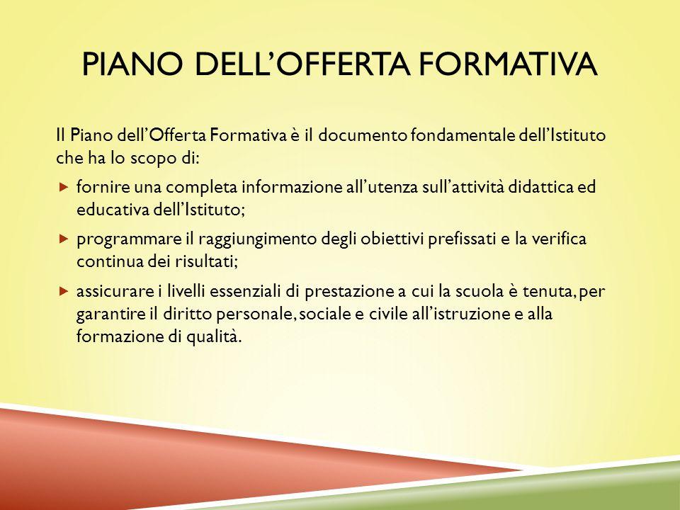 PIANO DELLOFFERTA FORMATIVA Il Piano dellOfferta Formativa è il documento fondamentale dellIstituto che ha lo scopo di: fornire una completa informazi