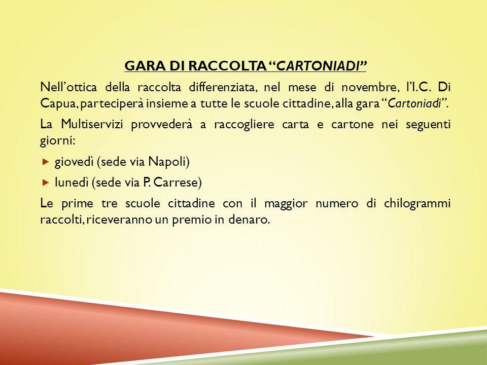 GARA DI RACCOLTA CARTONIADI Nellottica della raccolta differenziata, nel mese di novembre, lI.C. Di Capua, parteciperà insieme a tutte le scuole citta