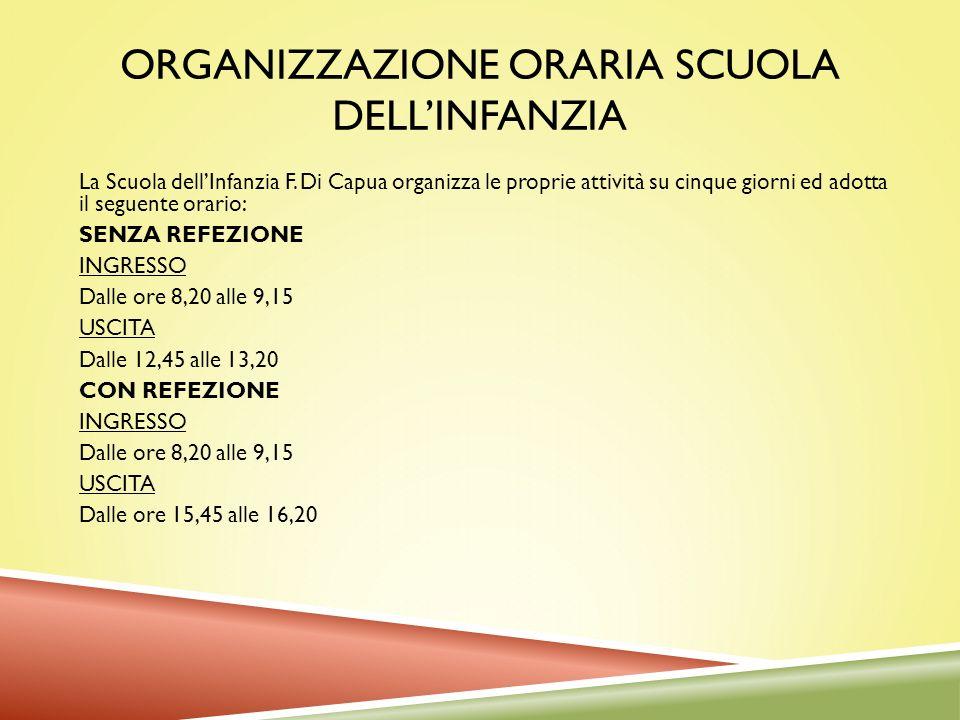 ORGANIZZAZIONE ORARIA SCUOLA DELLINFANZIA La Scuola dellInfanzia F. Di Capua organizza le proprie attività su cinque giorni ed adotta il seguente orar