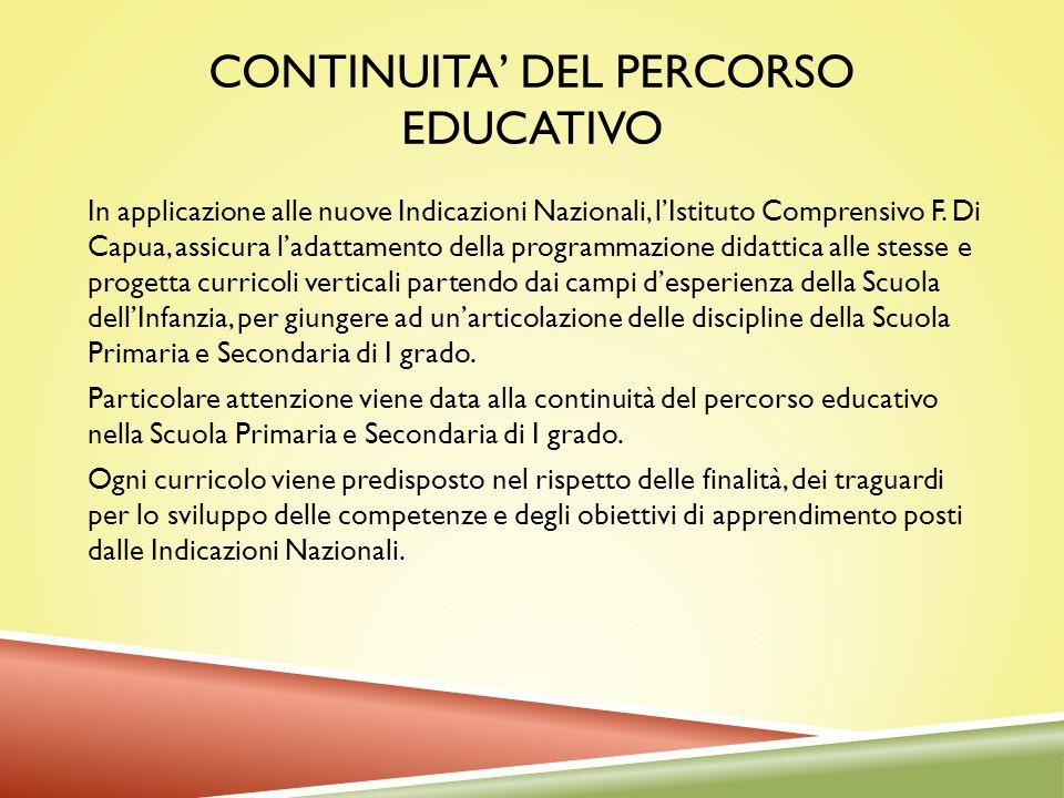 CONTINUITA DEL PERCORSO EDUCATIVO In applicazione alle nuove Indicazioni Nazionali, lIstituto Comprensivo F. Di Capua, assicura ladattamento della pro