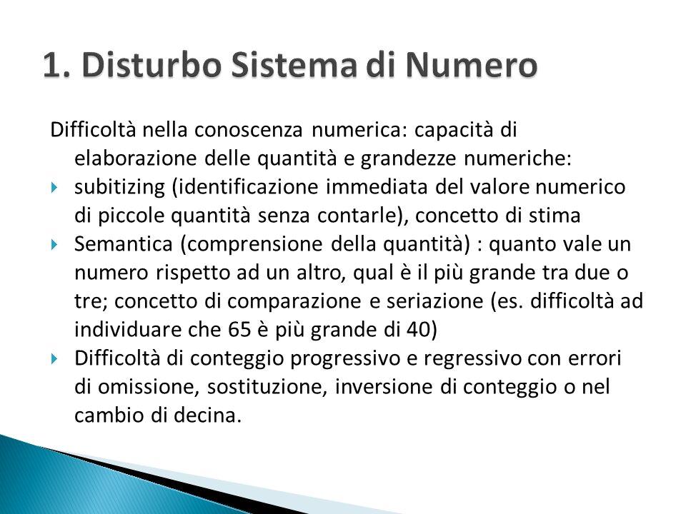 che si identifica nel 1. Disturbo a carico del Sistema del Numero 2. Disturbo a carico del Sistema del Calcolo 3. Disturbo Misto (numero e calcolo)