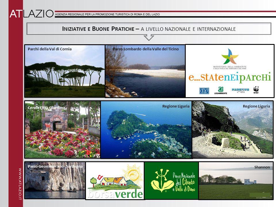 I NIZIATIVE E B UONE P RATICHE – A LIVELLO NAZIONALE E INTERNAZIONALE Parchi della Val di CorniaParco Lombardo della Valle del Ticino Cervia Città Giardino Regione Liguria Shannon Parco Geominerario - Sardegna