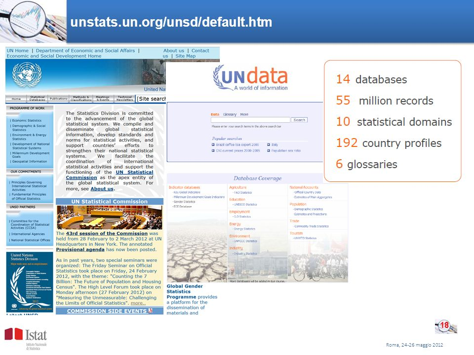 Roma, 24-26 maggio 2012 unstats.un.org/unsd/default.htm 18