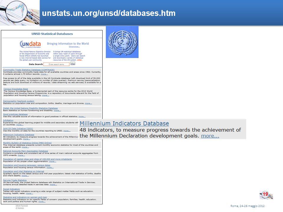 Roma, 24-26 maggio 2012 unstats.un.org/unsd/databases.htm 19