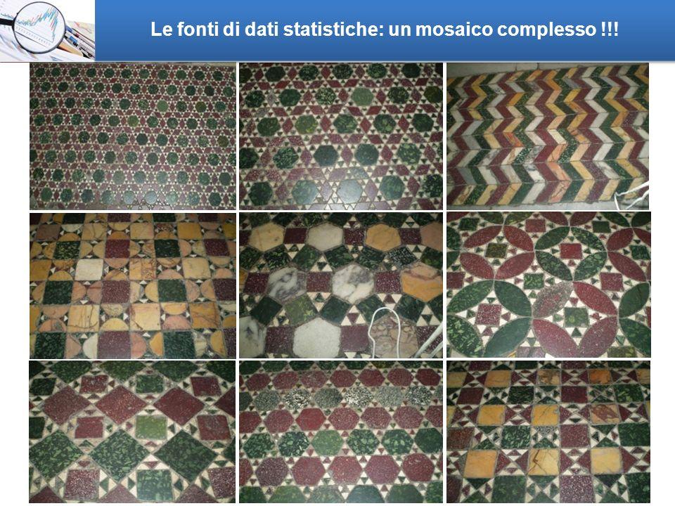 2 Le fonti di dati statistiche: un mosaico complesso !!!