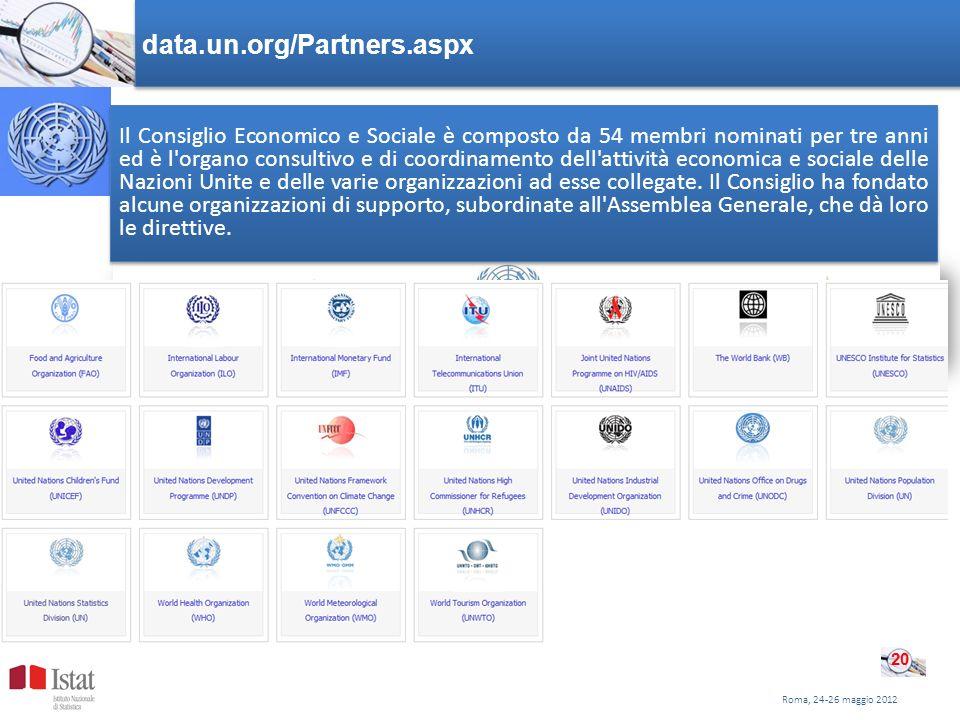 Roma, 24-26 maggio 2012 data.un.org/Partners.aspx 20 Il Consiglio Economico e Sociale è composto da 54 membri nominati per tre anni ed è l'organo cons