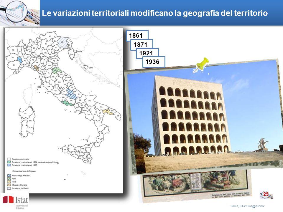 Le variazioni territoriali modificano la geografia del territorio Roma, 24-26 maggio 2012 25 1861 1871 1921 1936