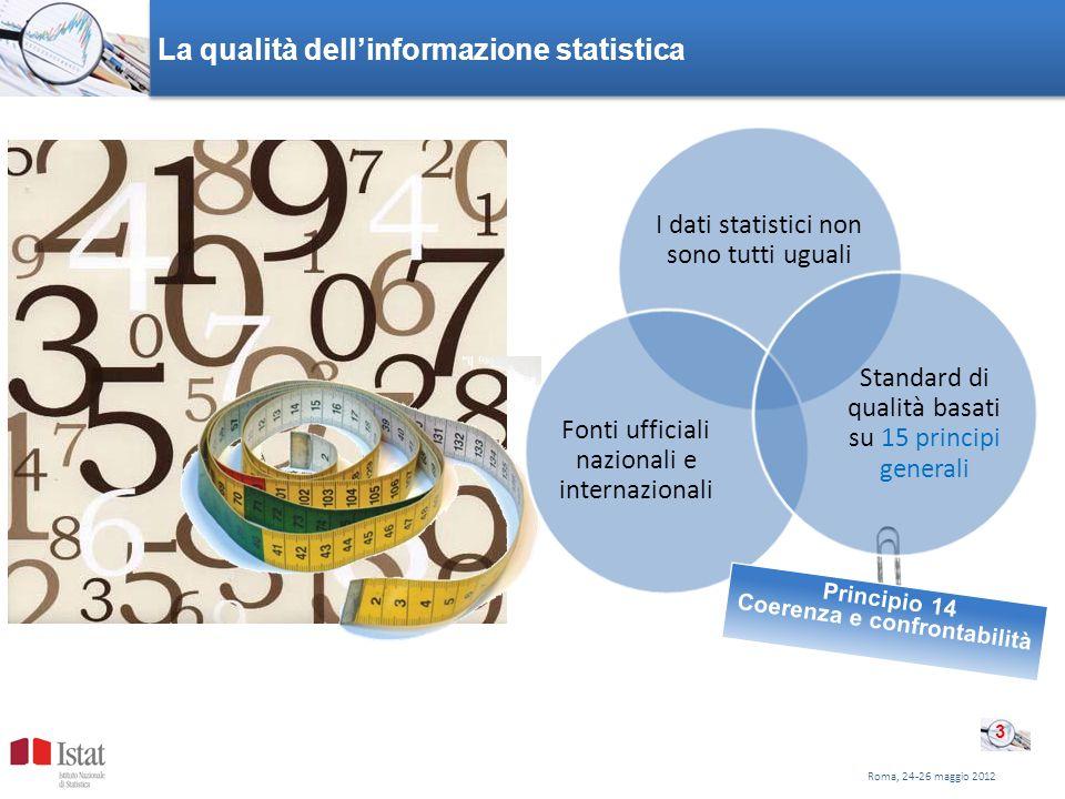 Roma, 24-26 maggio 2012 La qualità dellinformazione statistica I dati statistici non sono tutti uguali Fonti ufficiali nazionali e internazionali Principio 14 Coerenza e confrontabilità Standard di qualità basati su 15 principi generali 3