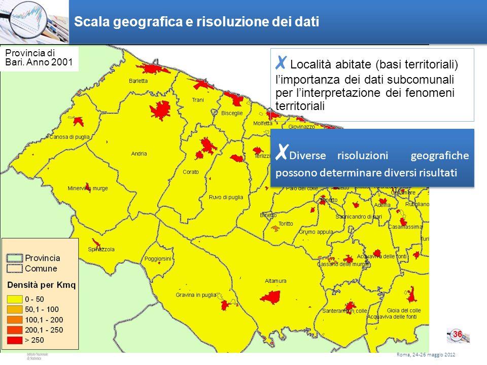 Roma, 20 gennaio 2011 Densità di popolazione per kmq, provincia di Bari. Anno 2001 Scala geografica e risoluzione dei dati Roma, 24-26 maggio 2012 36