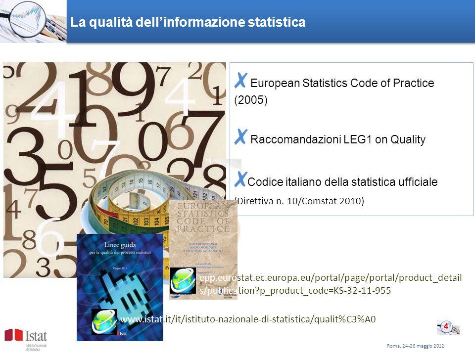Roma, 24-26 maggio 2012 La qualità dellinformazione statistica European Statistics Code of Practice (2005) Raccomandazioni LEG1 on Quality Codice italiano della statistica ufficiale (Direttiva n.