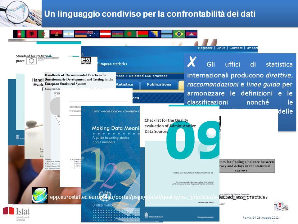 Un linguaggio condiviso per la confrontabilità dei dati Gli uffici di statistica internazionali producono direttive, raccomandazioni e linee guida per