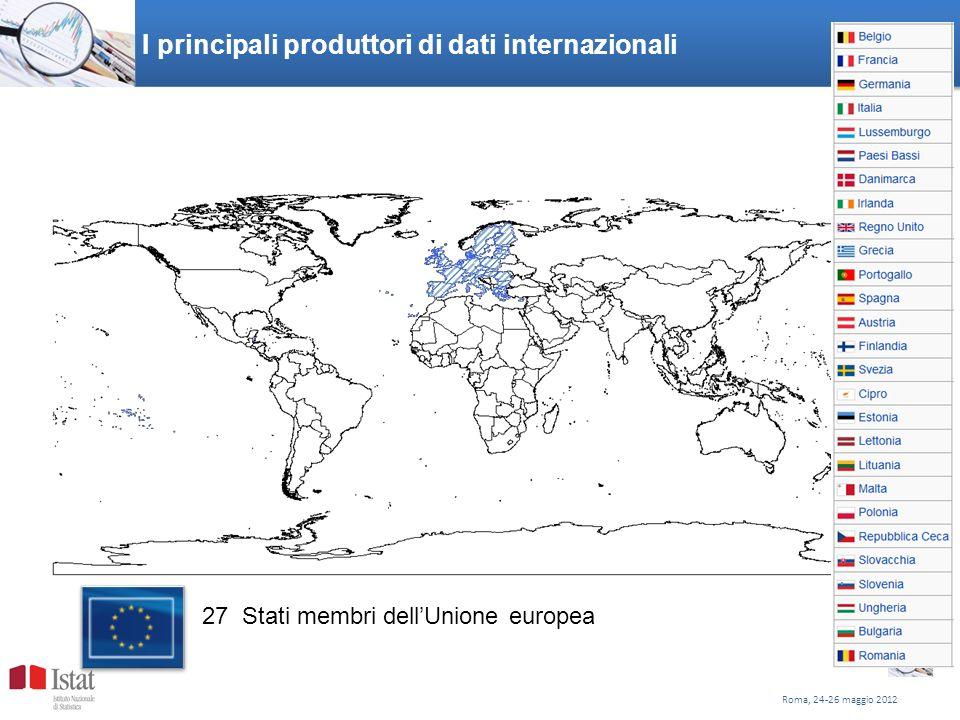 I principali produttori di dati internazionali Roma, 24-26 maggio 2012 7 27 Stati membri dellUnione europea