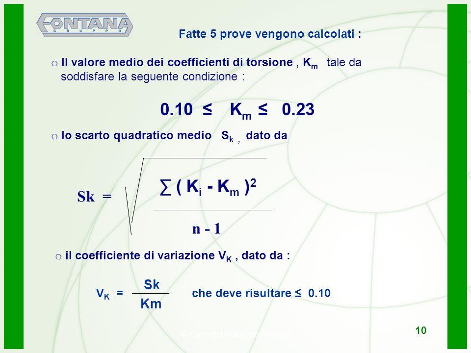 © Copyright Gruppo Fontana11 10 Fatte 5 prove vengono calcolati : o Il valore medio dei coefficienti di torsione, K m tale da soddisfare la seguente condizione : 0.10 K m 0.23 o lo scarto quadratico medio S k, dato da ( K i - K m ) 2 o il coefficiente di variazione V K, dato da : n - 1 Sk = V K = che deve risultare 0.10 Km Sk