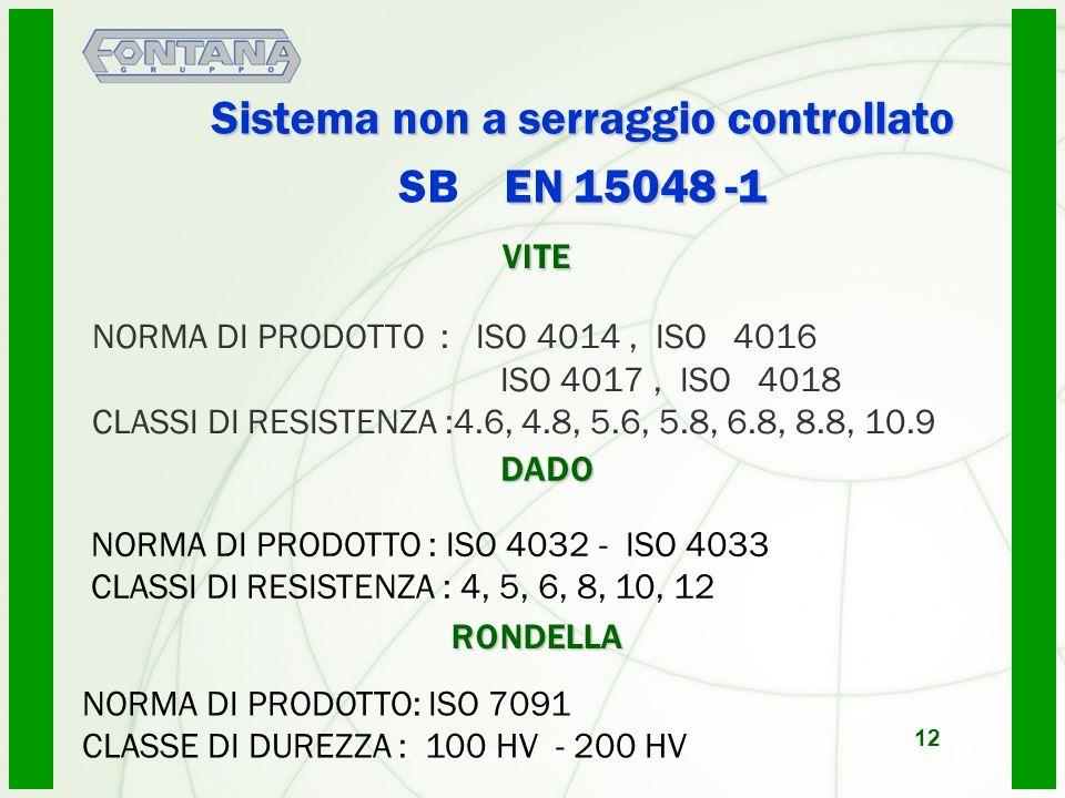 © Copyright Gruppo Fontana13 Sistema non a serraggio controllato EN 15048 -1 Sistema non a serraggio controllato SB EN 15048 -1 NORMA DI PRODOTTO : ISO 4014, ISO 4016 ISO 4017, ISO 4018 CLASSI DI RESISTENZA :4.6, 4.8, 5.6, 5.8, 6.8, 8.8, 10.9 12 VITE DADO DADO NORMA DI PRODOTTO : ISO 4032 - ISO 4033 CLASSI DI RESISTENZA : 4, 5, 6, 8, 10, 12 RONDELLA RONDELLA NORMA DI PRODOTTO: ISO 7091 CLASSE DI DUREZZA : 100 HV - 200 HV