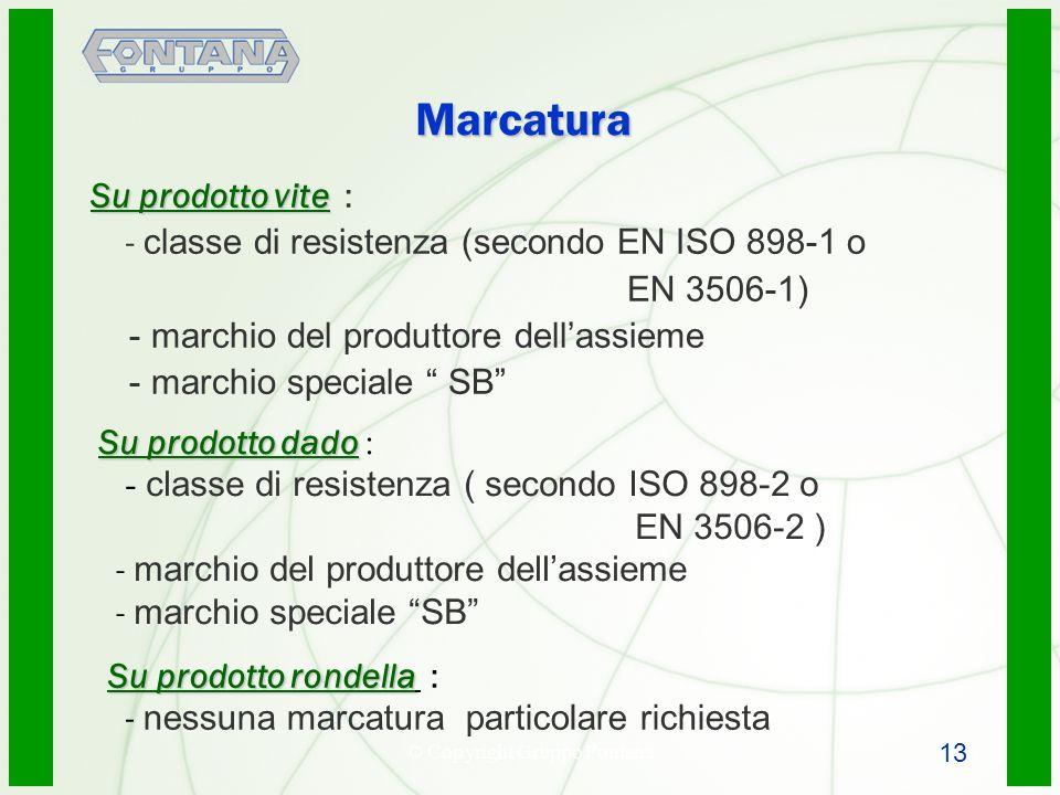 © Copyright Gruppo Fontana14 Marcatura Su prodotto vite Su prodotto vite : - classe di resistenza (secondo EN ISO 898-1 o EN 3506-1) - marchio del pro