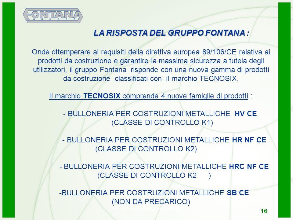 © Copyright Gruppo Fontana16 LA RISPOSTA DEL GRUPPO FONTANA LA RISPOSTA DEL GRUPPO FONTANA : Onde ottemperare ai requisiti della direttiva europea 89/