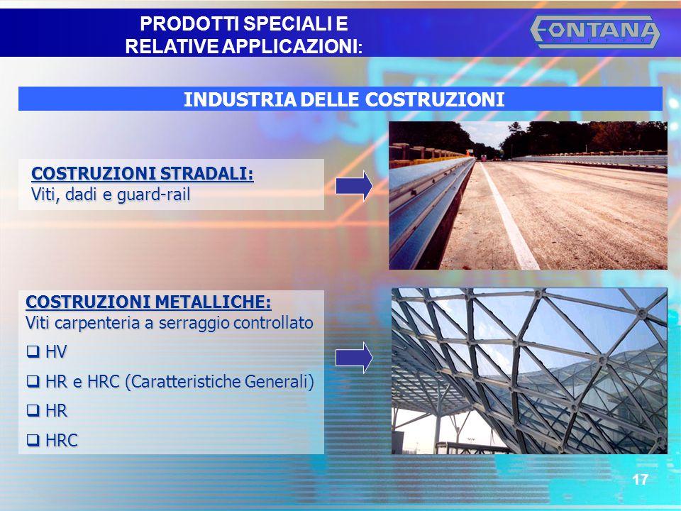 © Copyright Gruppo Fontana17 INDUSTRIA DELLE COSTRUZIONI COSTRUZIONI STRADALI: Viti, dadi e guard-rail COSTRUZIONI METALLICHE: Viti carpenteria a serr
