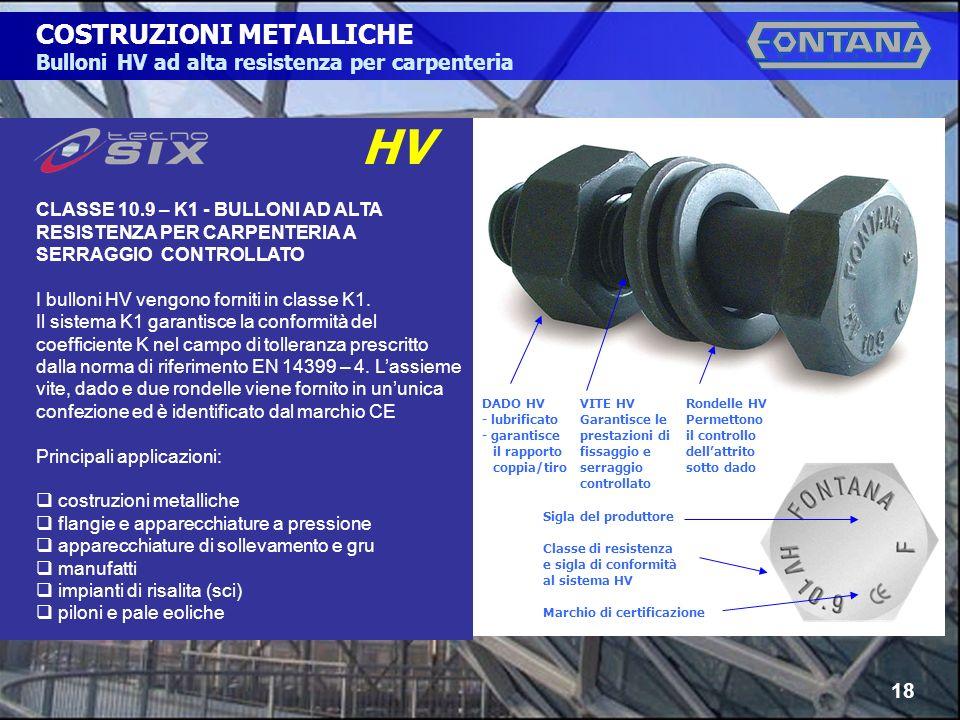 © Copyright Gruppo Fontana18 COSTRUZIONI METALLICHE Bulloni HV ad alta resistenza per carpenteria CLASSE 10.9 – K1 - BULLONI AD ALTA RESISTENZA PER CARPENTERIA A SERRAGGIO CONTROLLATO I bulloni HV vengono forniti in classe K1.