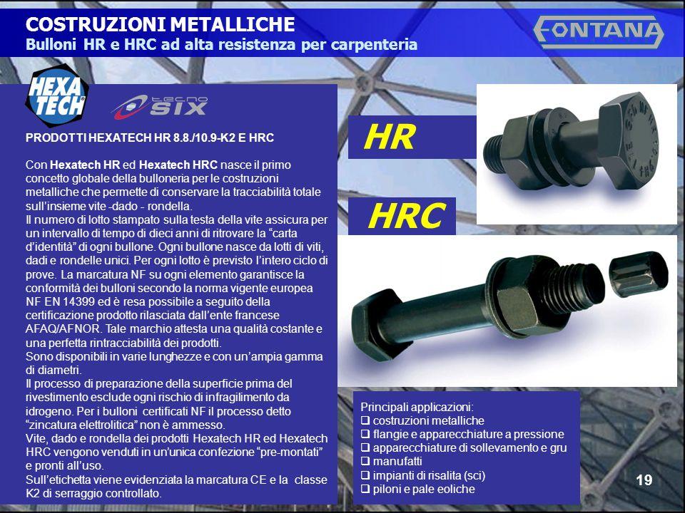 © Copyright Gruppo Fontana19 COSTRUZIONI METALLICHE Bulloni HR e HRC ad alta resistenza per carpenteria HR HRC PRODOTTI HEXATECH HR 8.8./10.9-K2 E HRC