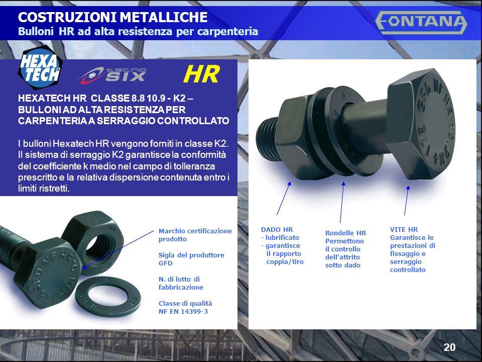 © Copyright Gruppo Fontana20 COSTRUZIONI METALLICHE Bulloni HR ad alta resistenza per carpenteria HEXATECH HR CLASSE 8.8 10.9 - K2 – BULLONI AD ALTA R