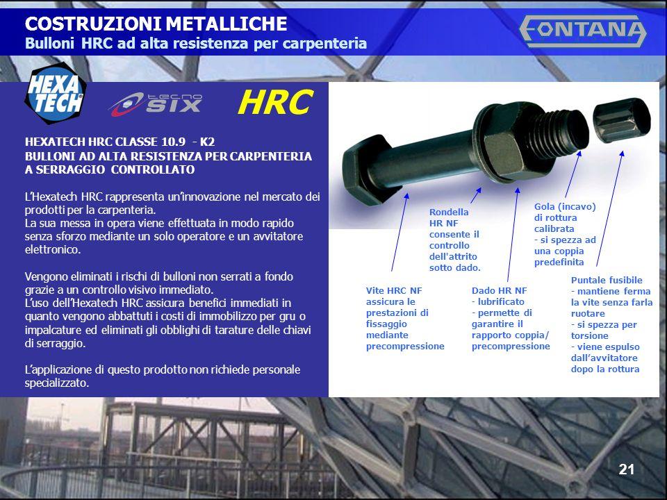 © Copyright Gruppo Fontana21 COSTRUZIONI METALLICHE Bulloni HRC ad alta resistenza per carpenteria HEXATECH HRC CLASSE 10.9 - K2 BULLONI AD ALTA RESIS