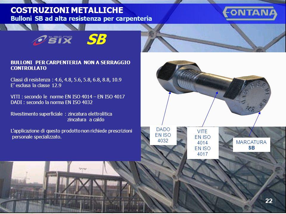 © Copyright Gruppo Fontana22 COSTRUZIONI METALLICHE Bulloni SB ad alta resistenza per carpenteria SB 22 BULLONI PER CARPENTERIA NON A SERRAGGIO CONTROLLATO Classi di resistenza : 4.6, 4.8, 5.6, 5.8, 6.8, 8.8, 10.9 E esclusa la classe 12.9 VITI : secondo le norme EN ISO 4014 – EN ISO 4017 DADI : secondo la norma EN ISO 4032 Rivestimento superficiale : zincatura elettrolitica zincatura a caldo Lapplicazione di questo prodotto non richiede prescrizioni personale specializzato.