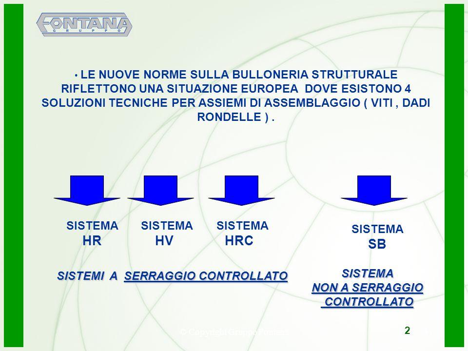 © Copyright Gruppo Fontana3 LE NUOVE NORME SULLA BULLONERIA STRUTTURALE RIFLETTONO UNA SITUAZIONE EUROPEA DOVE ESISTONO 4 SOLUZIONI TECNICHE PER ASSIE