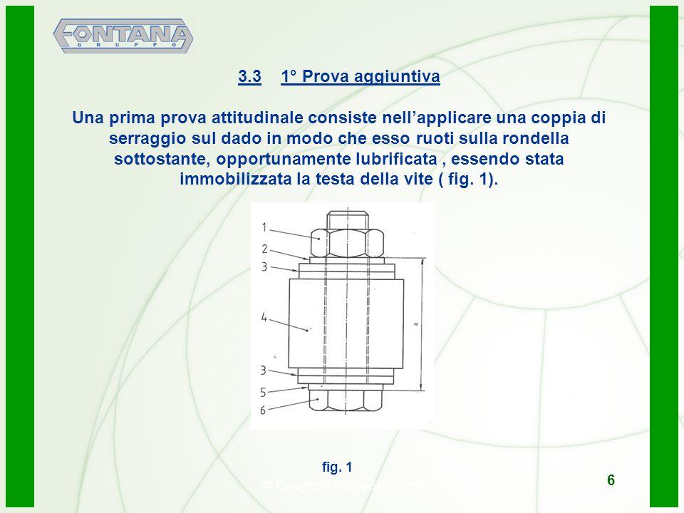 © Copyright Gruppo Fontana7 3.3 1° Prova aggiuntiva Una prima prova attitudinale consiste nellapplicare una coppia di serraggio sul dado in modo che e