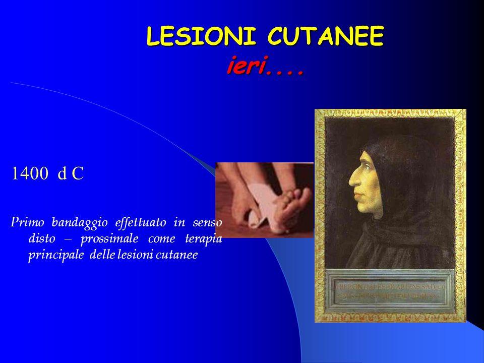 LESIONI CUTANEE ieri.... 1700 Enciclopedia di Diderot Grande varietà di bendaggi e medicazioni