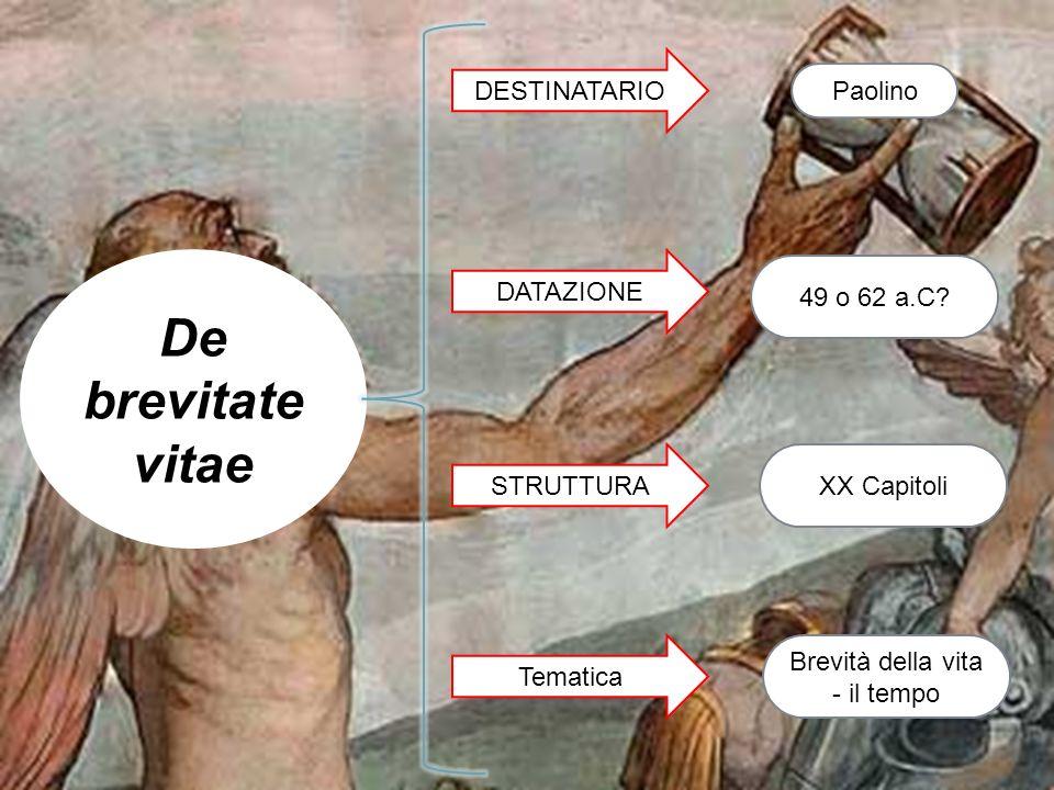 De brevitate vitae Paolino DESTINATARIO DATAZIONE 49 o 62 a.C? Tematica Brevità della vita - il tempo STRUTTURAXX Capitoli