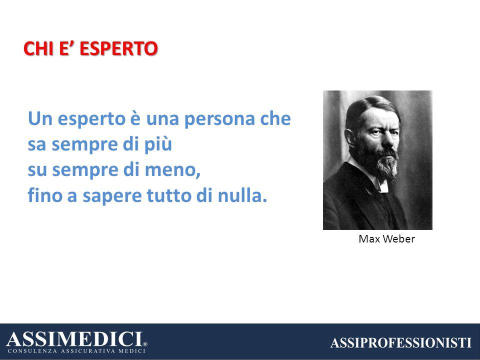 Un esperto è una persona che sa sempre di più su sempre di meno, fino a sapere tutto di nulla. Max Weber CHI E ESPERTO