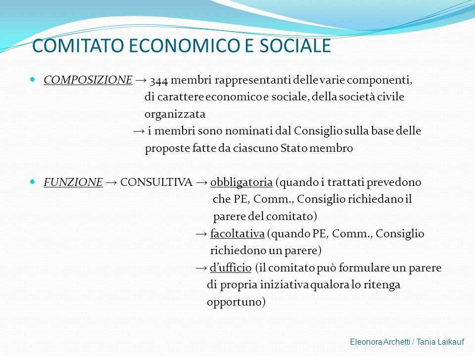 Eleonora Archetti / Tania Laikauf COMITATO ECONOMICO E SOCIALE COMPOSIZIONE 344 membri rappresentanti delle varie componenti, di carattere economico e