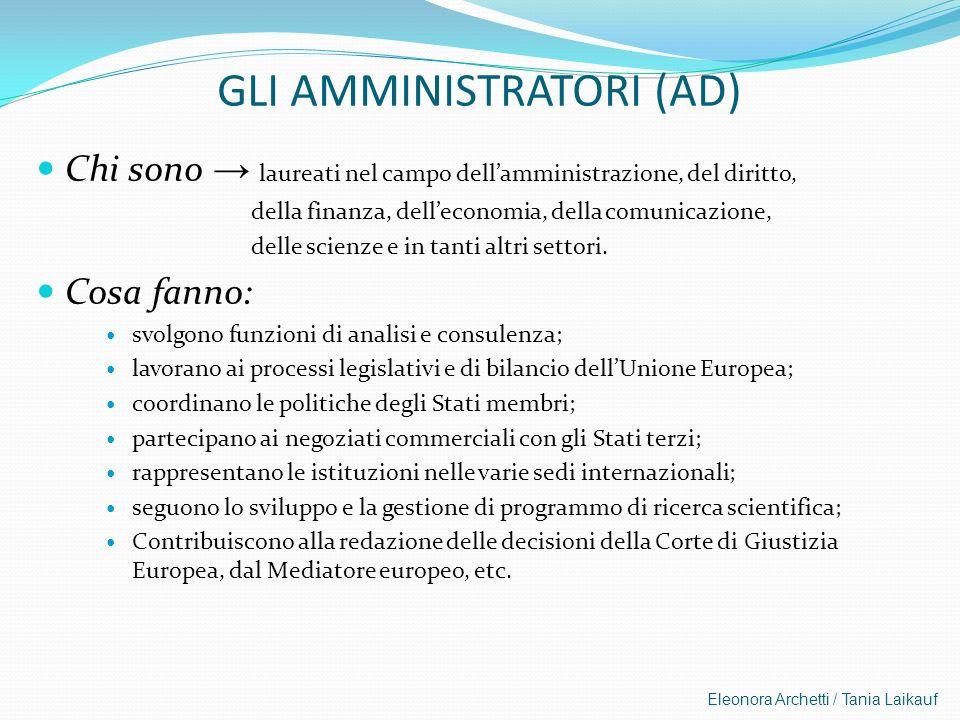 Eleonora Archetti / Tania Laikauf GLI AMMINISTRATORI (AD) Chi sono laureati nel campo dellamministrazione, del diritto, della finanza, delleconomia, d