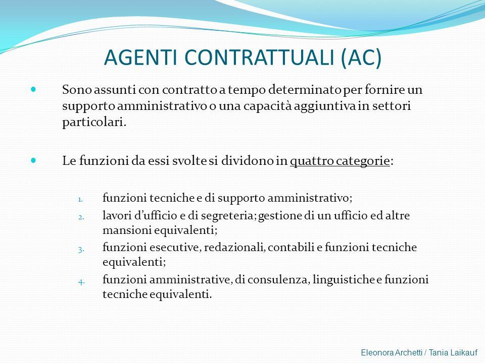 Eleonora Archetti / Tania Laikauf AGENTI CONTRATTUALI (AC) Sono assunti con contratto a tempo determinato per fornire un supporto amministrativo o una