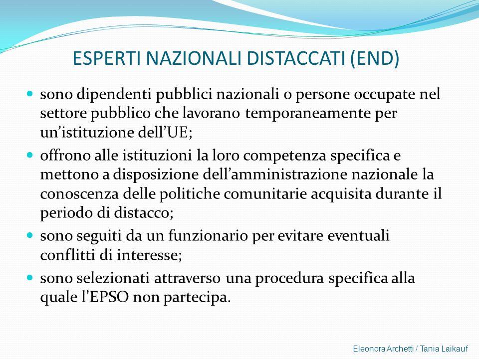 Eleonora Archetti / Tania Laikauf ESPERTI NAZIONALI DISTACCATI (END) sono dipendenti pubblici nazionali o persone occupate nel settore pubblico che la