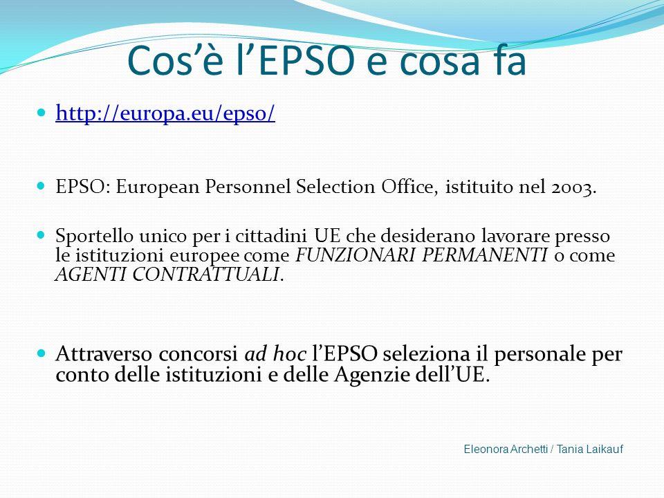Cosè lEPSO e cosa fa http://europa.eu/epso/ EPSO: European Personnel Selection Office, istituito nel 2003. Sportello unico per i cittadini UE che desi