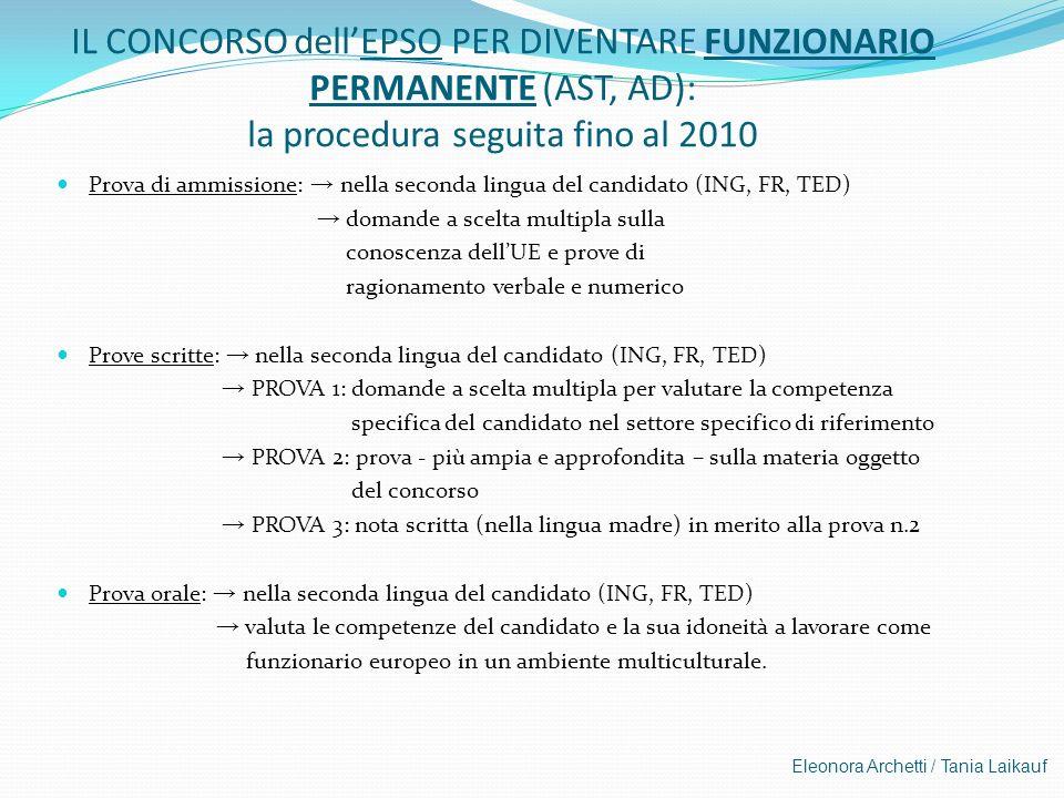 IL CONCORSO dellEPSO PER DIVENTARE FUNZIONARIO PERMANENTE (AST, AD): la procedura seguita fino al 2010 Prova di ammissione: nella seconda lingua del c