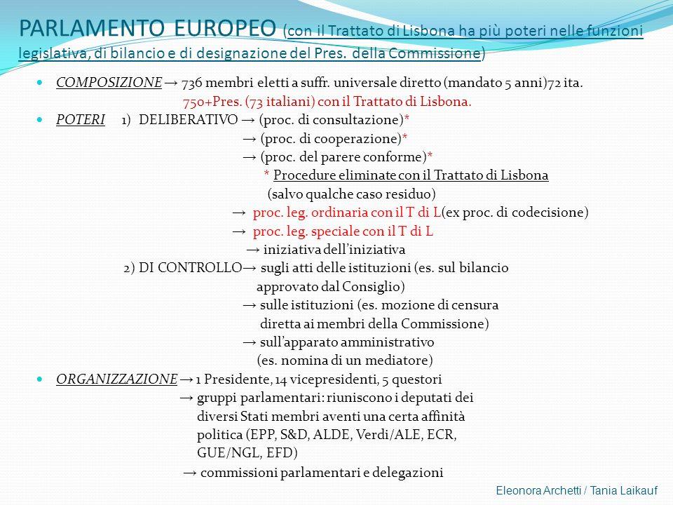 Eleonora Archetti / Tania Laikauf PARLAMENTO EUROPEO (con il Trattato di Lisbona ha più poteri nelle funzioni legislativa, di bilancio e di designazio