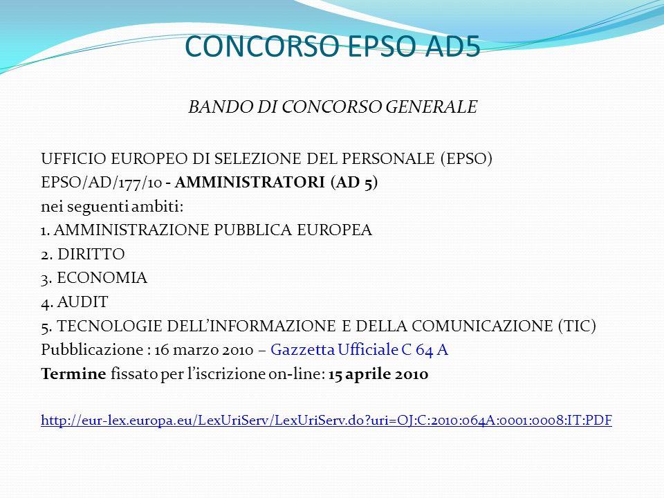 CONCORSO EPSO AD5 BANDO DI CONCORSO GENERALE UFFICIO EUROPEO DI SELEZIONE DEL PERSONALE (EPSO) EPSO/AD/177/10 - AMMINISTRATORI (AD 5) nei seguenti amb