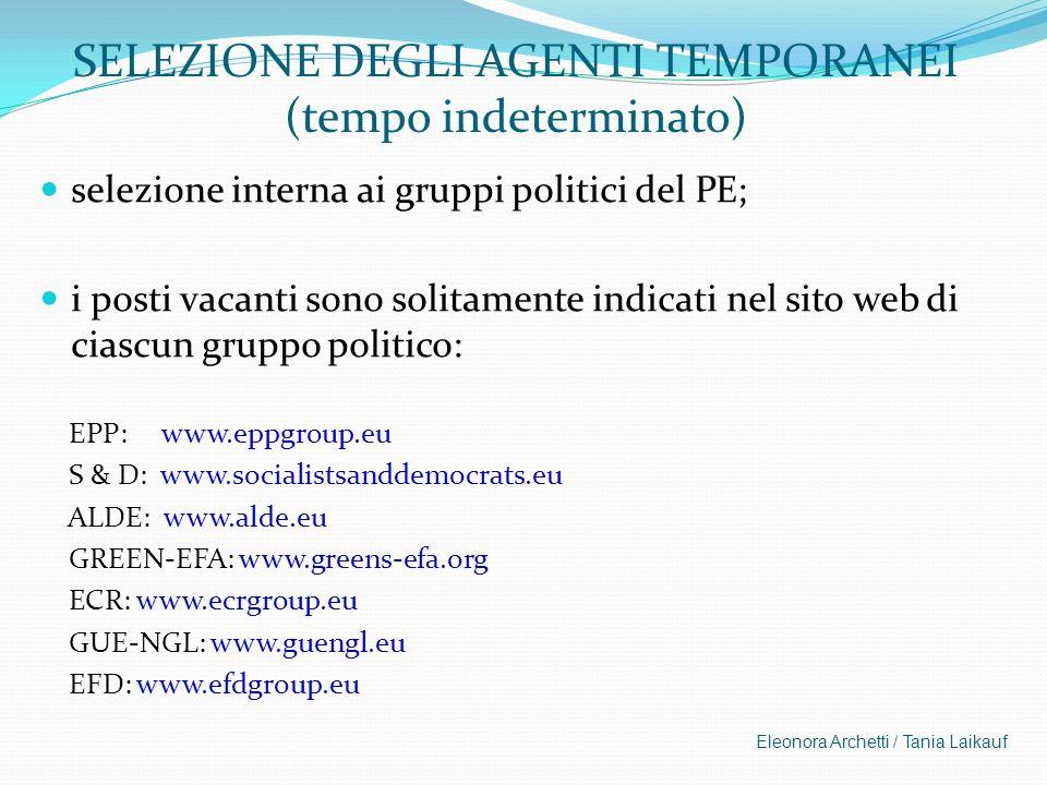 SELEZIONE DEGLI AGENTI TEMPORANEI (tempo indeterminato) selezione interna ai gruppi politici del PE; i posti vacanti sono solitamente indicati nel sit