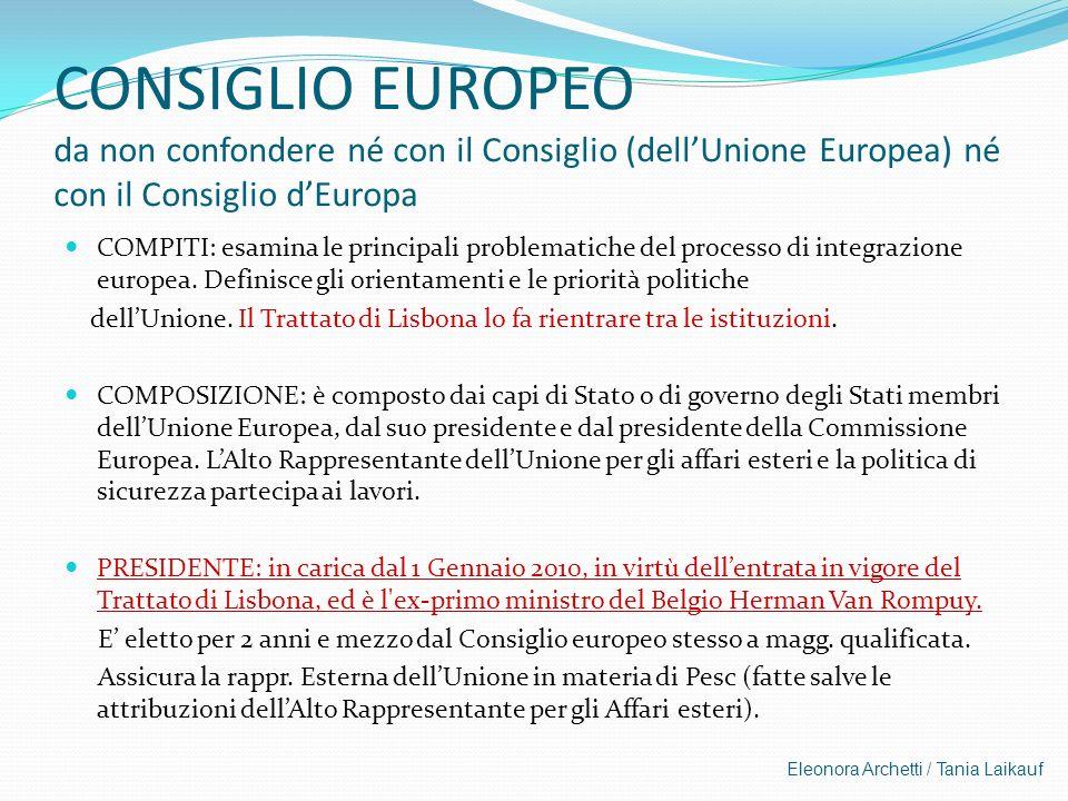 Eleonora Archetti / Tania Laikauf CONSIGLIO EUROPEO da non confondere né con il Consiglio (dellUnione Europea) né con il Consiglio dEuropa COMPITI: es