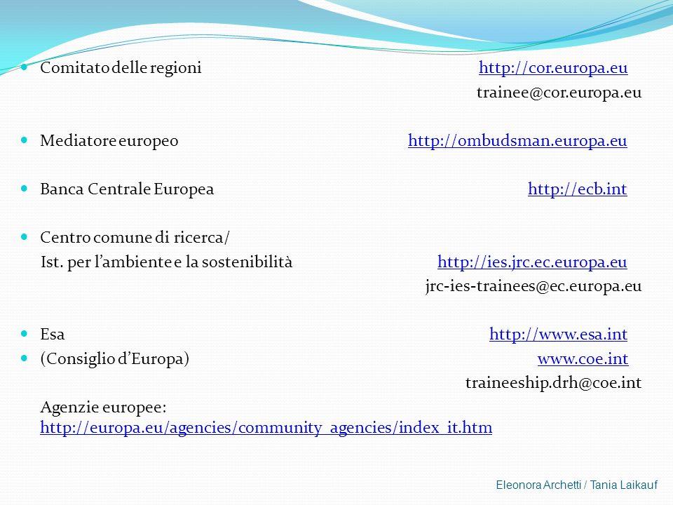 Eleonora Archetti / Tania Laikauf Comitato delle regioni http://cor.europa.eu trainee@cor.europa.eu Mediatore europeo http://ombudsman.europa.eu Banca