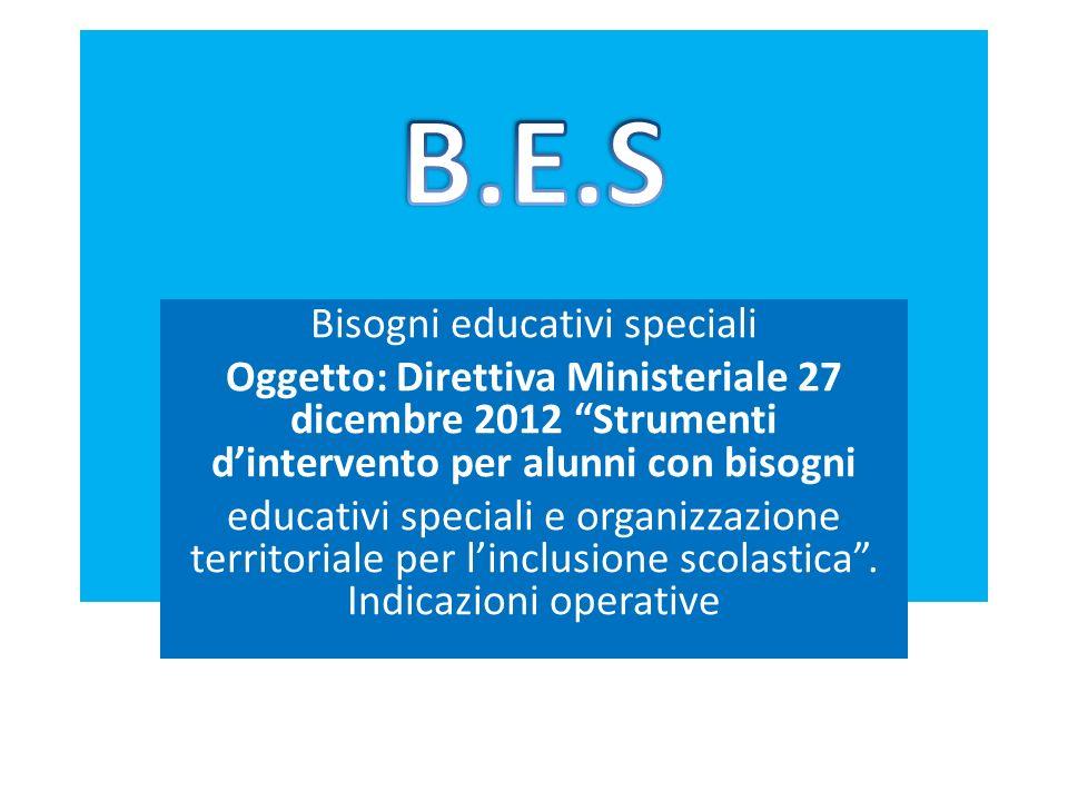 Bisogni educativi speciali Oggetto: Direttiva Ministeriale 27 dicembre 2012 Strumenti dintervento per alunni con bisogni educativi speciali e organizz